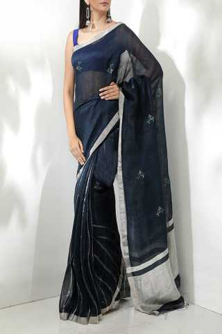 Staring Black - Silver Colored Saree Silk Designer Saree For Women