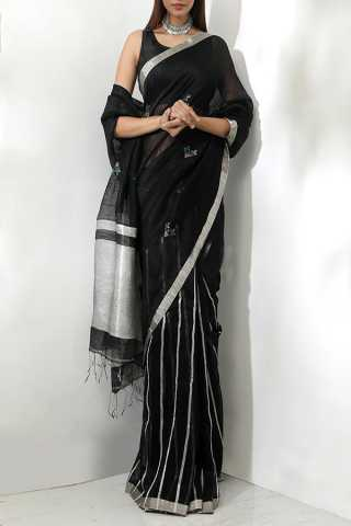 Black Colored Saree Silk Designer Saree With Blouse For Women