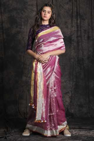 Magnetic Violet Shade Colored Khadi Silk Designer Saree With Blouse For Women - KA00031
