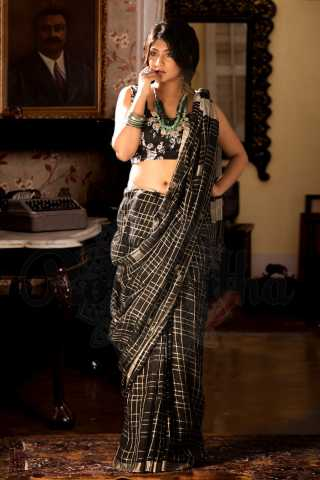 Fantastic Black Colored Khadi Silk Designer Saree With Blouse For Women - KA00034