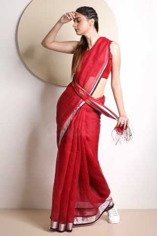 Delightful Red Colored Khadi Silk Designer Saree With Blouse For Women - KA00041