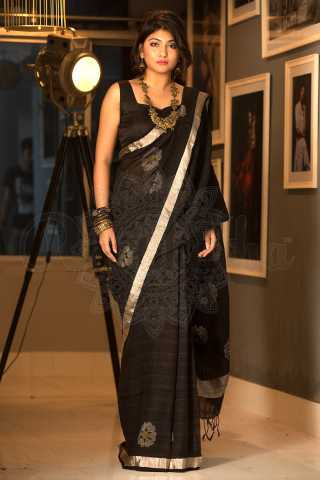Amazing Black Colored Khadi Silk Saree With Blouse For Women - KA00045
