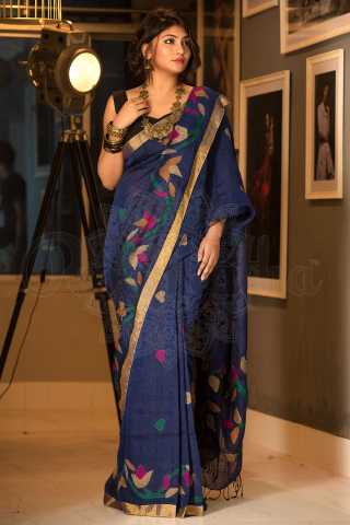 Ravishing Navy Blue Colored Saree Silk Saree With Blouse For Women - KA00046