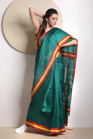 Ideal Green Colored Khadi Silk Saree With Blouse For Women - KA00047