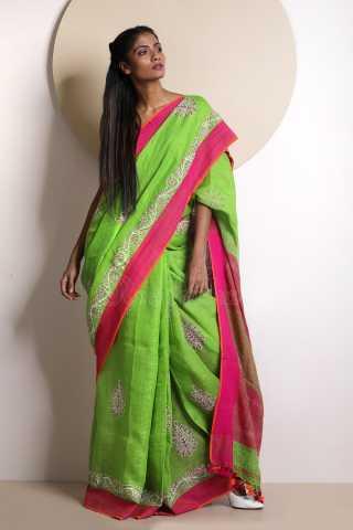 Traditional Green Colored Pink Border Saree Silk Saree With Blouse For Women - KA00053