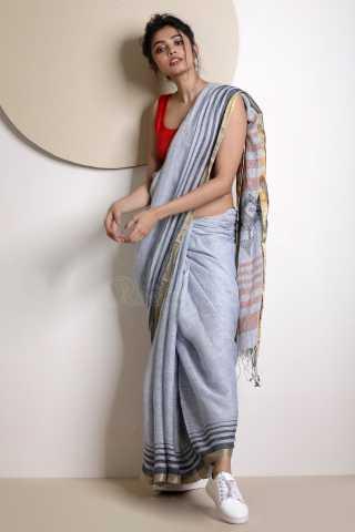 Light Grey Colored Beautiful Saree Silk Saree With Blouse For Women - KA00057
