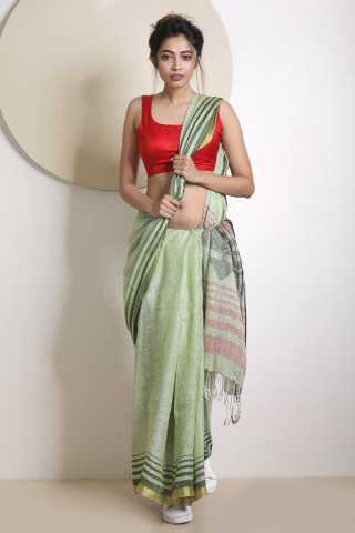 Pista Green Colored Beautiful Saree Silk Saree With Blouse For Women - KA00058