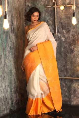 Delightful Off White Colored Broad Yellow Border Saree Silk Saree With Blouse - KA00063