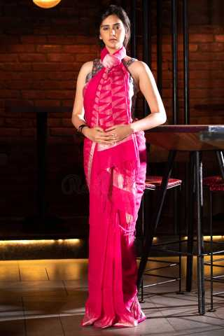 Blooming Pink Colored Saree Silk Saree With Blouse For Women - KA00074