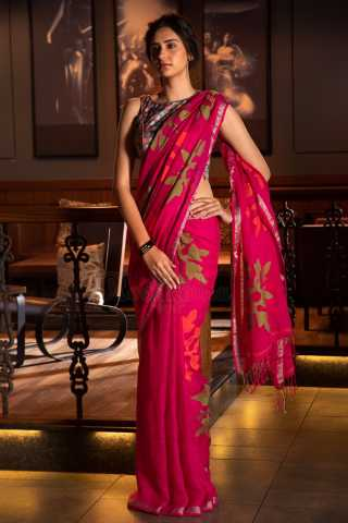 Stunning Pink Colored Saree Silk Saree With Blouse For Women - KA00076