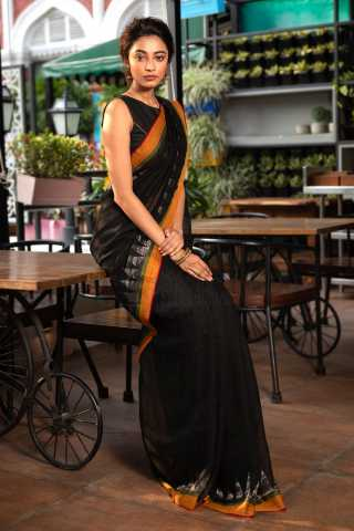 Impressive Black Colored Saree Silk Saree With Blouse For Women - KA00079