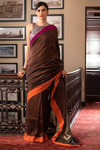 ClassicalBrown Colored Solid Khadi Silk Saree With Blouse For Women - KA00082
