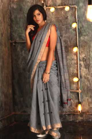 BloomingGrey Colored Khadi Silk Saree With Blouse For Women - KA00085