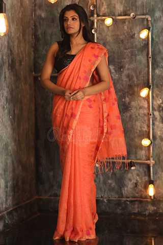 Charming orange Colored Khadi Silk Saree With Blouse For Women - KA00088