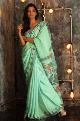 exceptional Sea-Green Colored solid Saree Silk Saree With Blouse For Women - KA00089