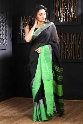 Charming Black Colored Green Boreder  Saree Silk Saree With Blouse For Women - KA00092