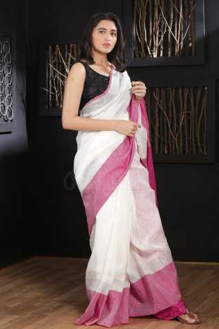 Engrossing White Colored Pink Boreder  Khadi Silk Saree With Blouse For Women - KA00094