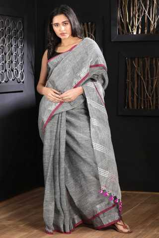 Flattering Grey Colored Khadi Silk Saree With Blouse For Women - KA00095