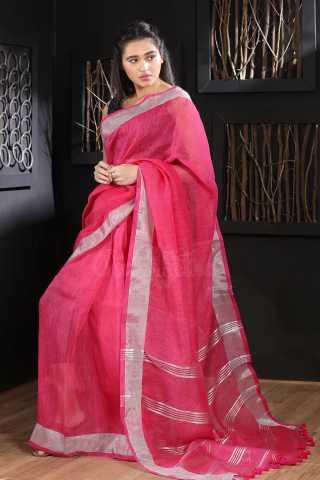 GracefulPink Colored Khadi Silk Saree With Blouse For Women - KA00096