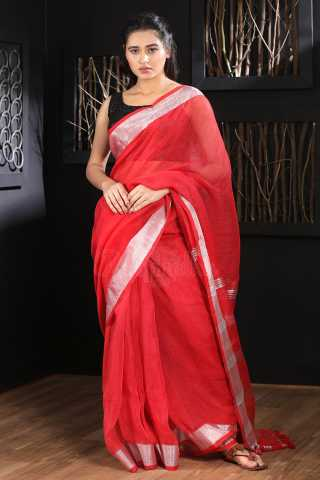 Impressive Red Colored Khadi Silk Saree With Blouse For Women - KA00098