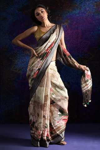 Cream-Black Colored Beautiful Printed Saree Silk Saree With Blouse For Women - KA00101