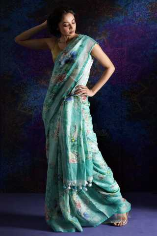 Light Blue Colored Beautiful Flower Print Saree Silk Saree With Blouse For Women - KA00103