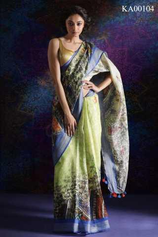 Flattering Lime Green Saree Silk Saree With Blouse For Women - KA00104