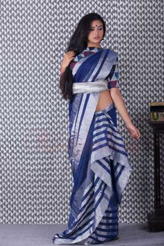 Magnetic Blue Colored Printed Khadi Silk Saree With Tassel For Women - KA00110