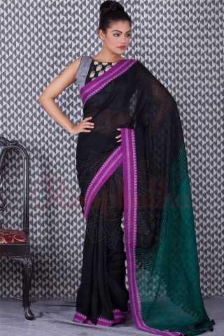 Refreshing Black Colored Pink Border Khadi Silk Saree With Tassel For Women - KA00112