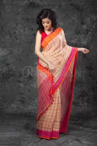 Surpassing Cream Colored Checks Pattern Saree Silk Saree With Tassel For Women - KA00113