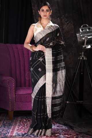 Ethnic Black Colored Saree Silk Saree With Tassel For Women - KA00114