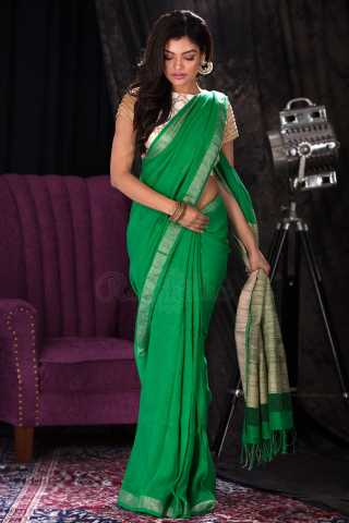 Excellent Green Colored Saree Silk Saree With Tassel For Women - KA00118