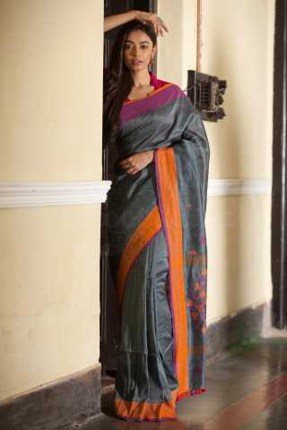 Engrossing Grey Colored Orange Border Khadi Silk Saree With Tassel For Women - KA00126