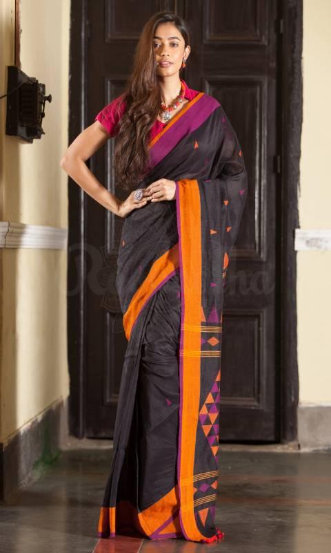 Flamboyant Black Colored Printed Pallu Saree Silk Saree With Tassel For Women - KA00127