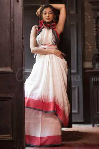 Breathtaking White Colored Red Border Khadi Silk Saree With Tassel For Women - KA00131