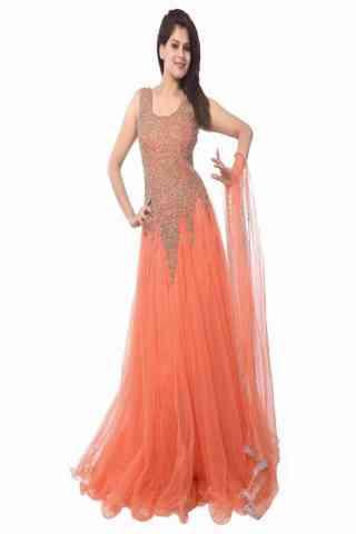 Gorgeous Orange Colored Designer Partywear Soft Net Gown