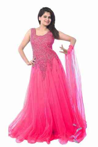 Mind Blowing Pink Colored Designer Partywear Soft Net Gown