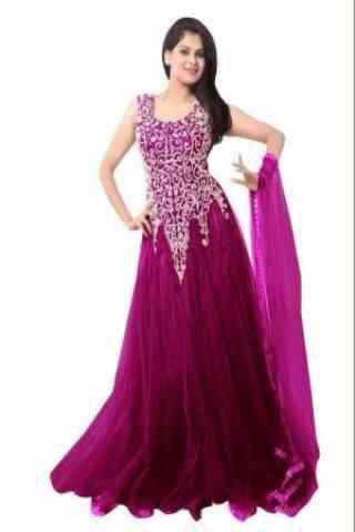 Dashing Purple Colored Designer Partywear Soft Net Gown
