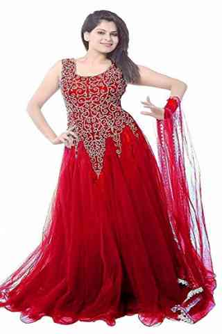 Stunning Red Colored Designer Partywear Soft Net Gown