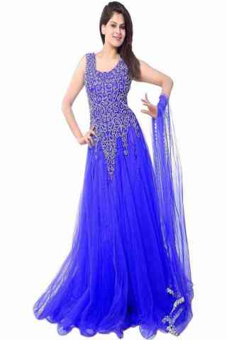 Beautiful Royal Blue Colored Designer Partywear Soft Net Gown