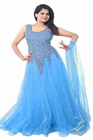 Outstanding Skyblue Colored Designer Partywear Soft Net Gown