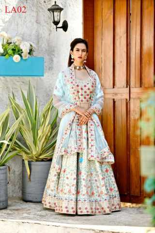 Malai Satin Fabricated Resham Zari Stone And Dori Work Blue Colored Lehenga Choli With Dupatta 30""