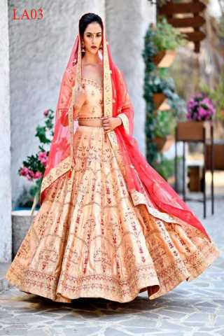 Malai Satin Fabricated Resham Zari Stone And Dori Work Peach Colored Lehenga Choli With Dupatta 30""