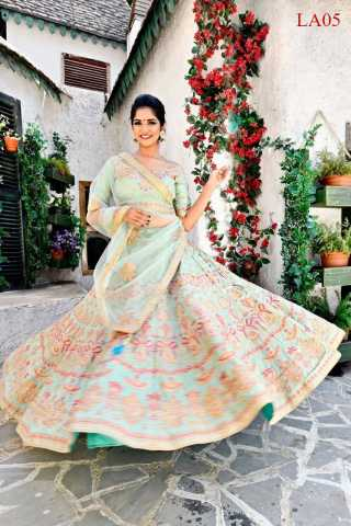 Goldy Silk Fabricated Resham Zari Stone And Dori Work Green Colored Lehenga Choli With Dupatta 30""