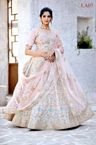 Malai Satin Fabricated Resham Zari Stone And Dori Work Crepe Pink Colored Lehenga Choli With Dupatta