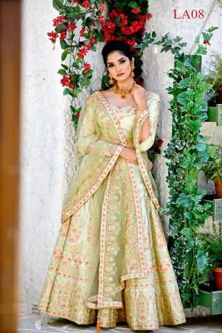Malai Satin Fabricated Resham Zari Stone And Dori Work olive Green Colored Lehenga Choli With Dupatta 30""