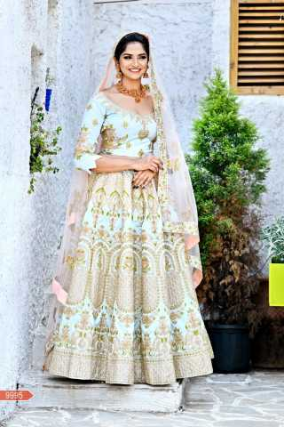 Malbari Silk Fabricated Resham Zari Stone And Dori Work Baby Blue Colored Lehenga Choli With Dupatta 30""
