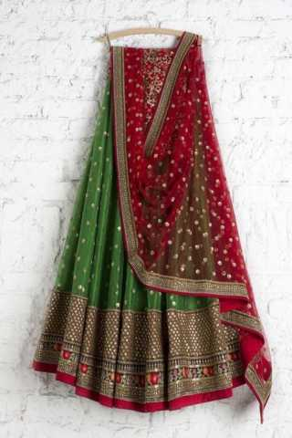 Delightful Green Color Net With Embroidery Work Lehenga Choli - LC142