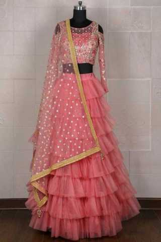 Ethnic Indian Style Gajari Pink Party Wear Tissue Net Lahenga Choli With Dupatta - LC206