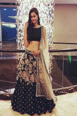 Attractive Black Colored Silk Fabric Beautiful Indian Style Embroidered Lehenga Choli With Dupatta - LC223